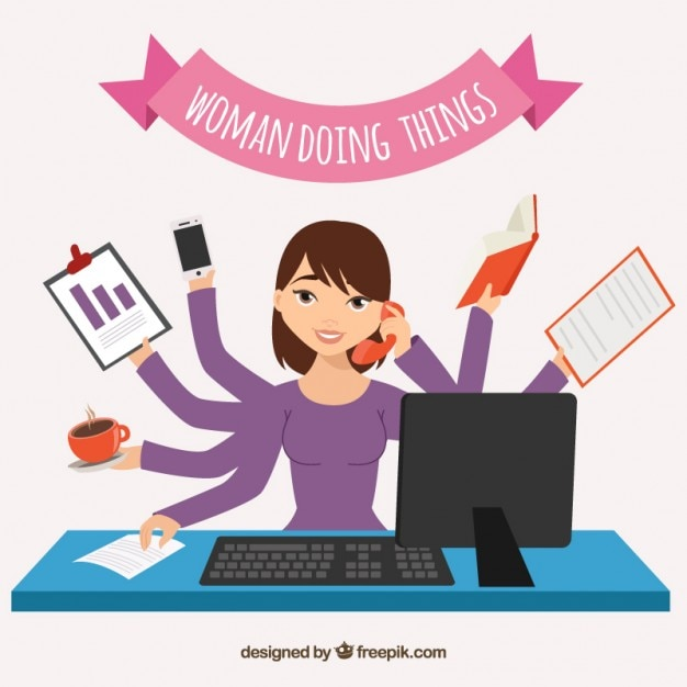 Woman doing things Free Vector