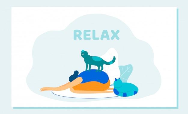 Woman doing yoga asana cat sitting on her back. Premium Vector