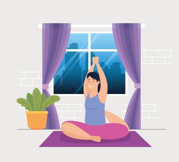 Donna che fa yoga nella progettazione dell'illustrazione di vettore della casa Vettore gratuito