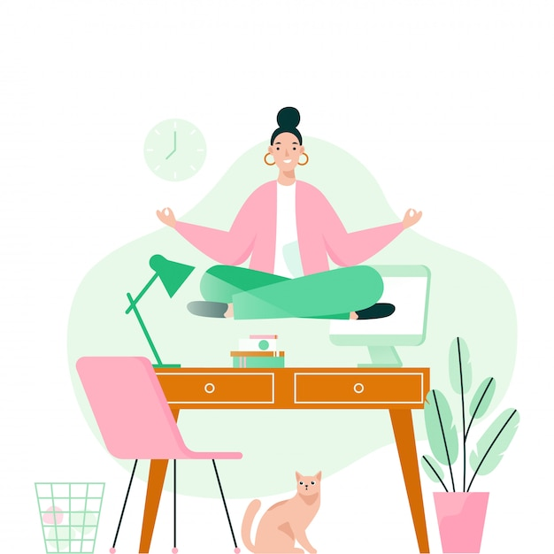 Woman doing yoga in office over desktop. woman meditating to calm down the stressful emotion from hard work. concept   illustration. Premium Vector