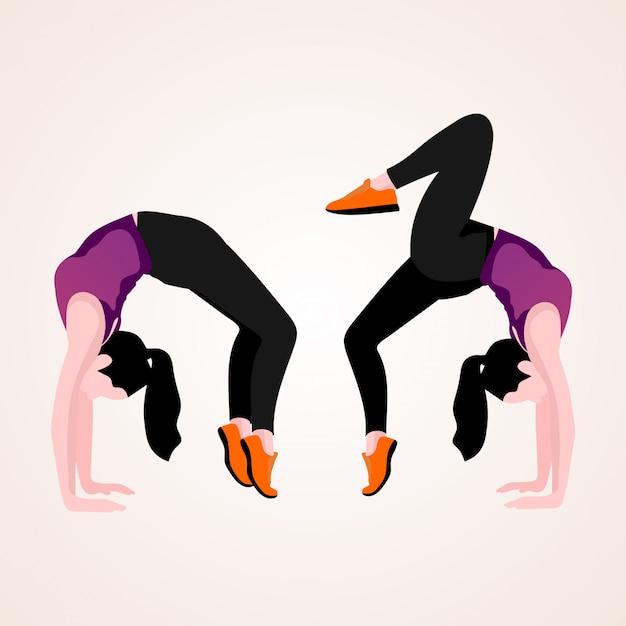 Woman doing yoga postures Premium Vector