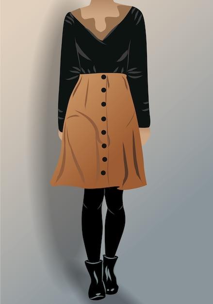 Женщина, одетая в черную блузку, туфли-трусики и коричневую юбку Premium векторы