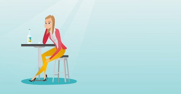 Woman drinking a cocktail in the bar. Premium Vector