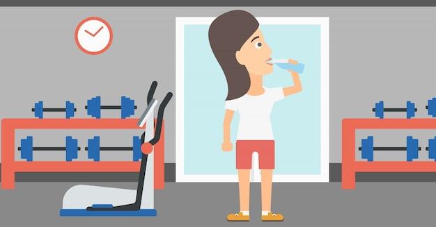 Woman drinking water. Premium Vector