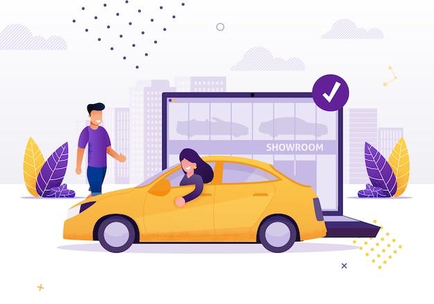 Женщина за рулем арендованного или нового автомобиля из автосалона cartoon Premium векторы