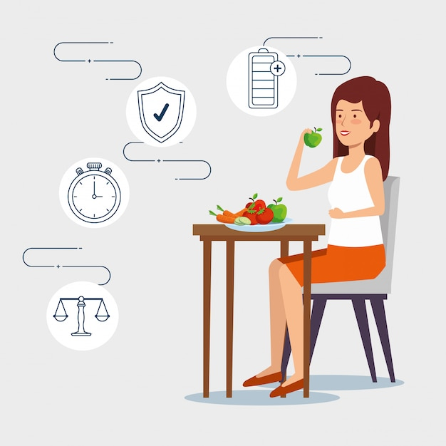 Woman eating vegetables and fruits to healthy lifestyle Premium Vector