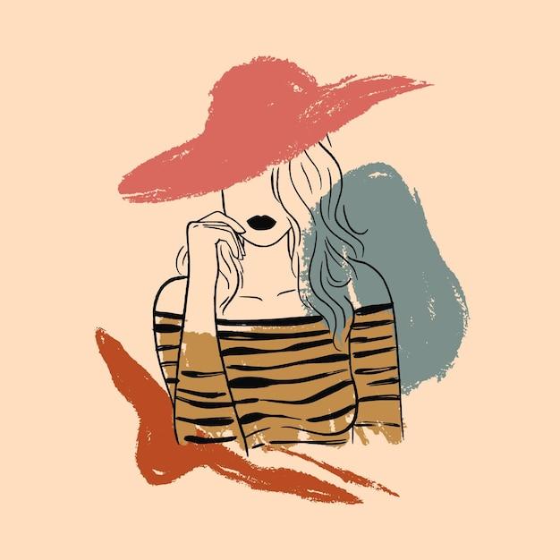 Woman in elegant line art style Free Vector