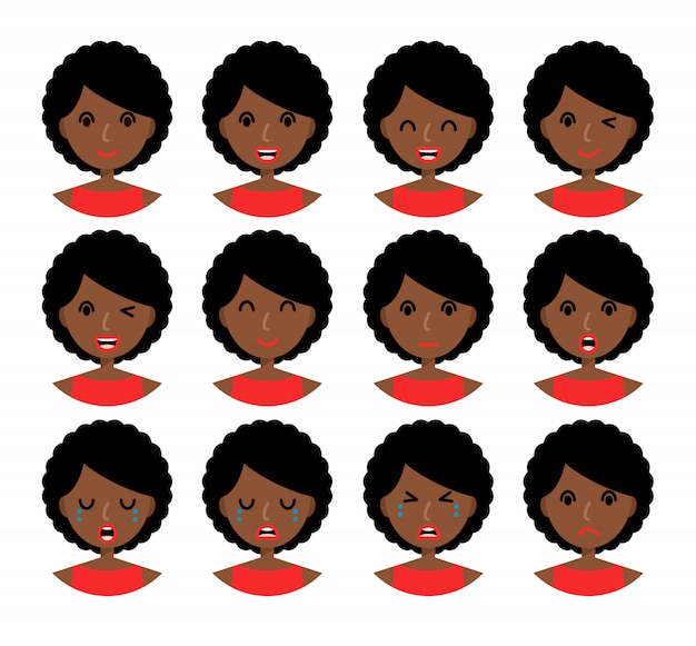 Woman emotions. beautiful african american girl with brown hair. Premium Vector