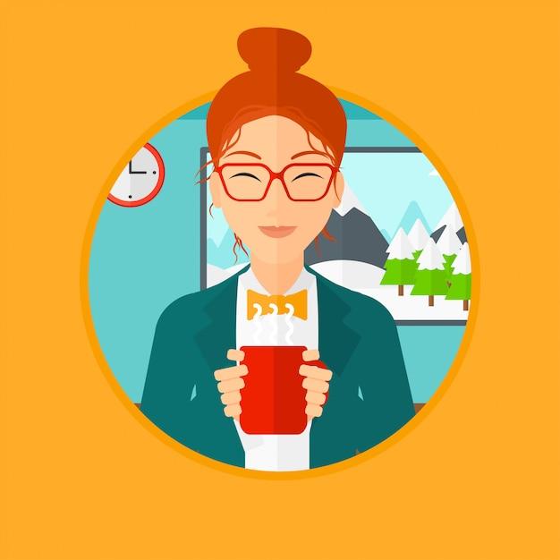 Woman enjoying cup of hot coffee. Premium Vector