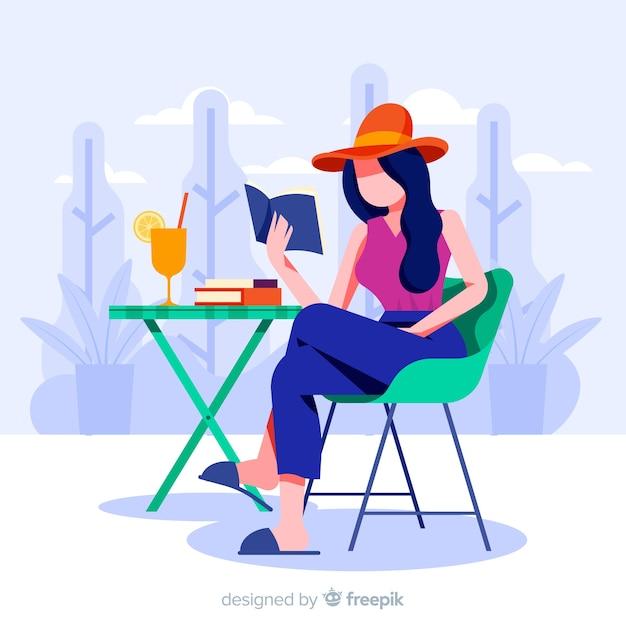 Woman enjoying her free time Free Vector