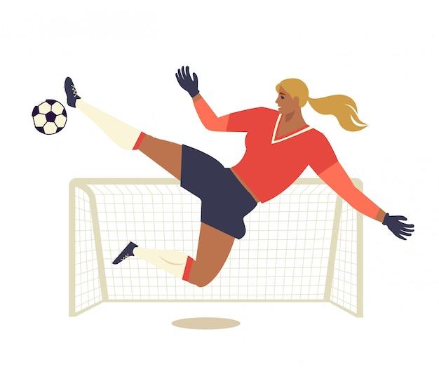 Woman european football, soccer player flat vector illustration. Premium Vector