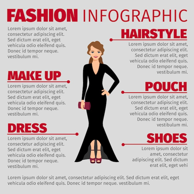 Woman in evening dress fashion infographic Premium Vector
