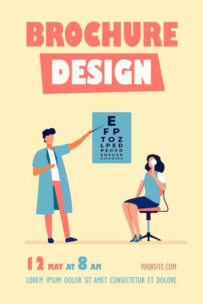 Donna che esamina gli occhi con l'aiuto del modello di volantino oftalmologo Vettore gratuito