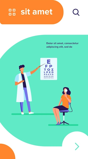 Woman examining eyes with help of ophthalmologist. oculist, letter, hospital flat vector illustration Free Vector