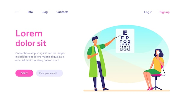 Woman examining eyes with help of ophthalmologist. oculist, letter, hospital. medicine and healthcare concept for website design or landing web page Free Vector