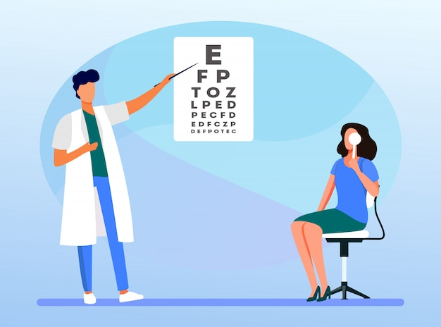 Woman examining eyes with help of ophthalmologist Free Vector