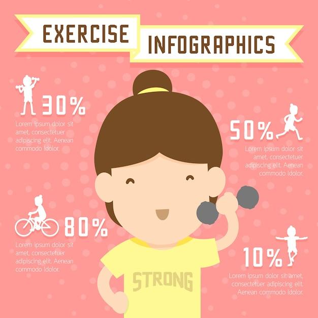 Woman exercise infographics Premium Vector
