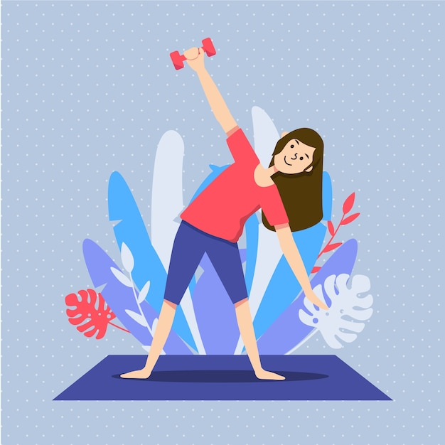 Woman exercising in the living room illustrated Free Vector