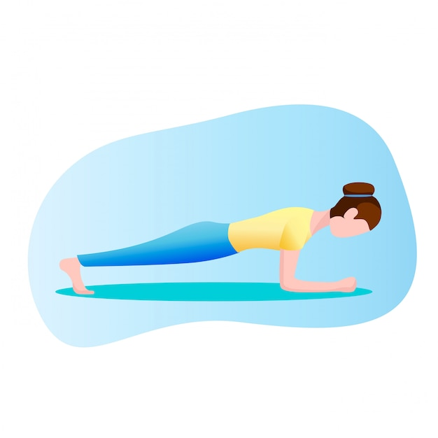 Woman exercising, standing in a plank position Premium Vector