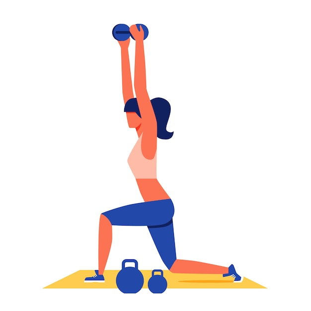 Woman exercising with dumbbells on yellow carpet. Premium Vector