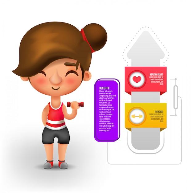 利点のインフォグラフィックと体重を行使する女性 無料ベクター