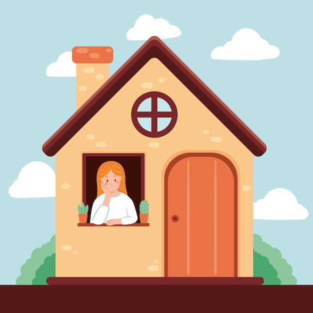Woman experiencing cabin fever Free Vector