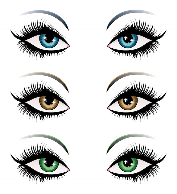 Woman eyes in different color Premium Vector