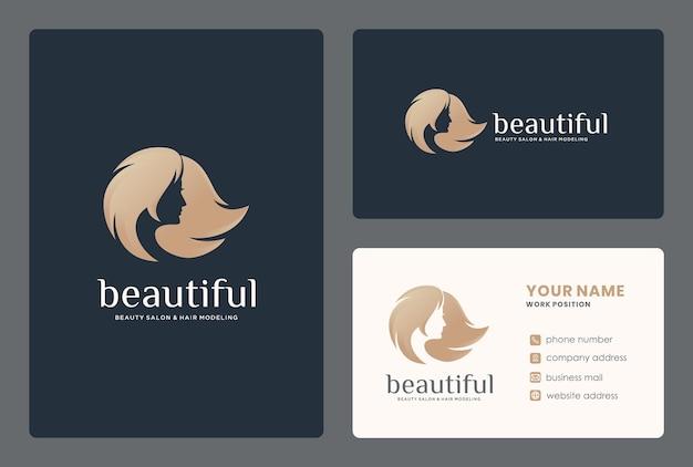 名刺テンプレートと女性の顔/美容院のロゴデザイン。 Premiumベクター