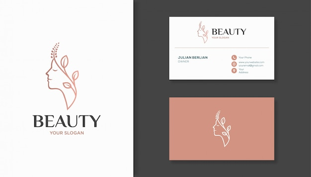 Woman face combine with leaf logo design and business card. Premium Vector
