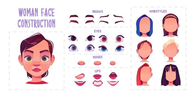 Создание женского лица, создание аватара с разными частями головы на белом Бесплатные векторы