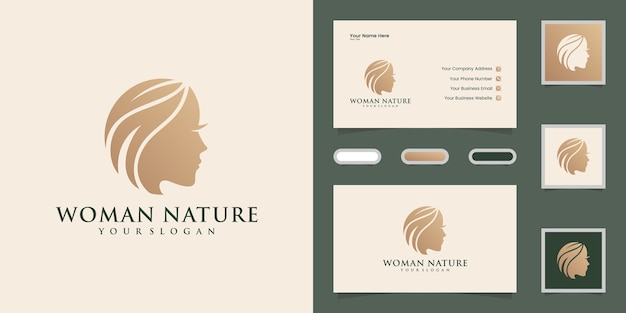 Woman face and hair leaf salon logo and business cad Premium Vector