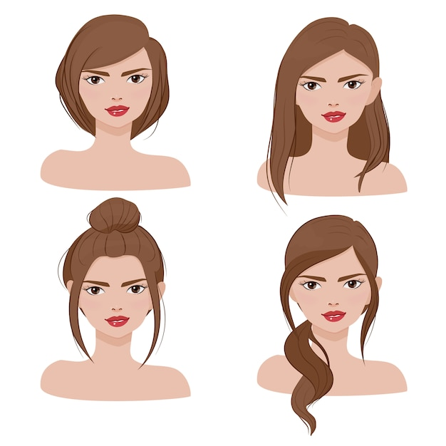 Woman face portrait in different hair style collection Premium Vector