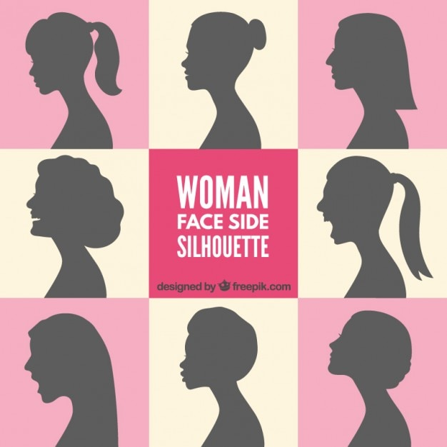 woman face side silhouettes free vector