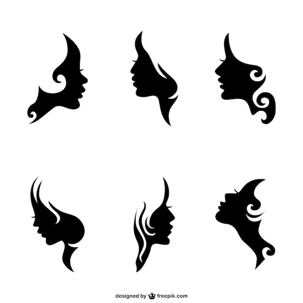 Woman face silhouettes Free Vector