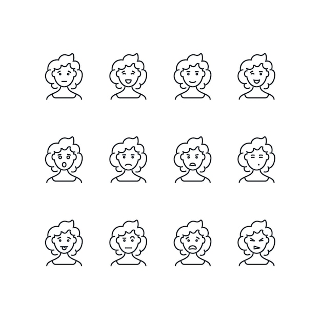 Woman face with different expressions line icons Premium Vector