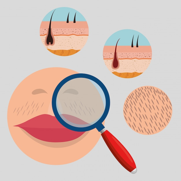 Woman face with hair removal elements Free Vector