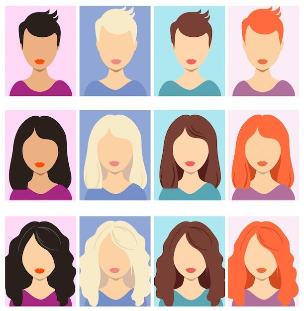 Женщина безликих аватаров. женские человеческие анонимные портреты, женские прямоугольные аватары, иконки для пользователей сайтов. Premium векторы