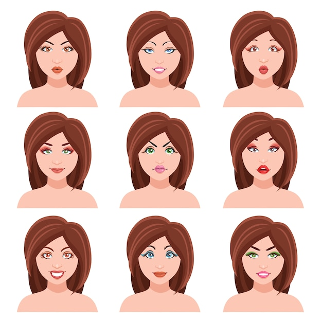 Woman faces set Free Vector