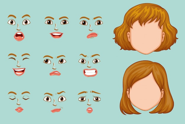 Woman faces with different expressions Free Vector