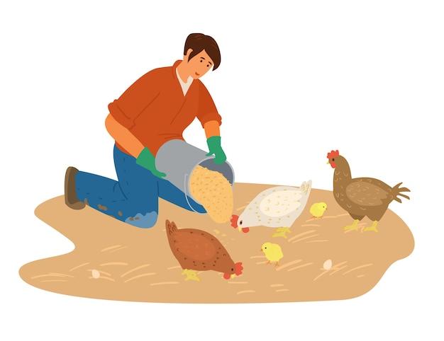여자 농부 작업 Gtains 일러스트와 함께 닭을 피드. 프리미엄 벡터