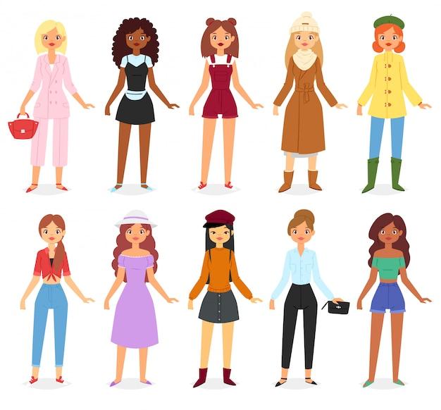 Woman fashion looks clothes set Premium Vector