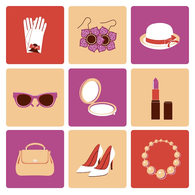 Woman fashion stylish casual shopping accessory collection flat icons set isolated Premium Vector