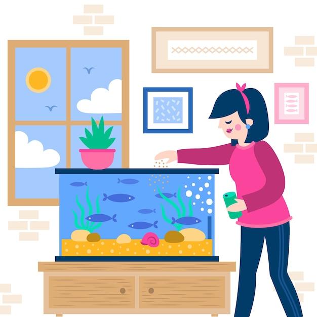Женщина кормит рыб из аквариума Бесплатные векторы