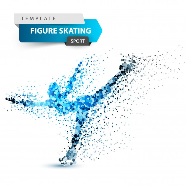 Woman figure skating on the white background Premium Vector
