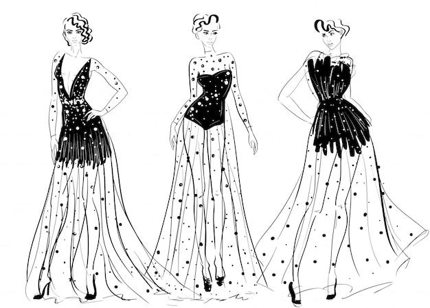 Woman figures in long couture transparent dresses Premium Vector