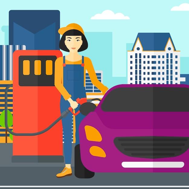 Woman filling up fuel into car. Premium Vector