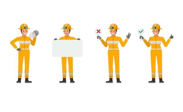 さまざまなアクションで女性消防士のキャラクター Premiumベクター