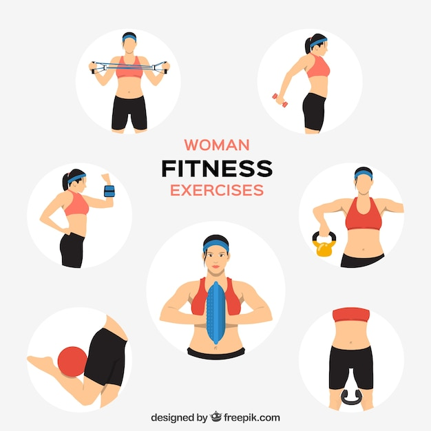 Woman fitness exercises Free Vector