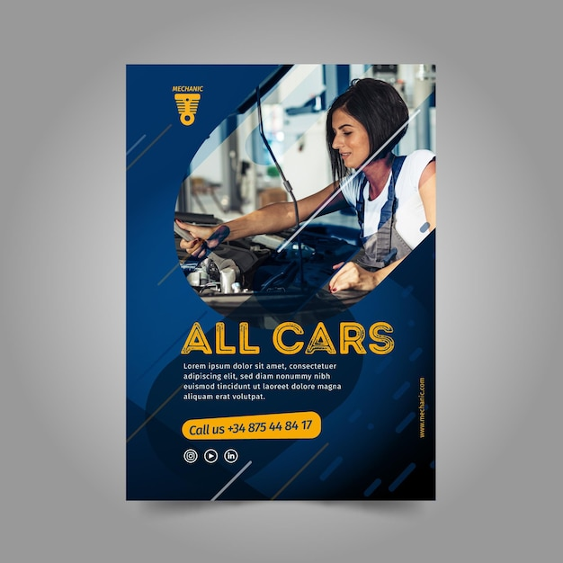 Woman fixing a car flyer template Free Vector