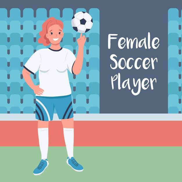 Женщина-футболист в социальных сетях. женский футболист фраза. шаблон дизайна веб-баннера. Premium векторы